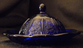 Covered Butter Pat Dish - Cobalt Blue