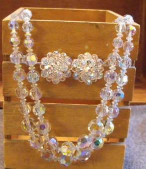 Clear Bead Necklace/Earring Set