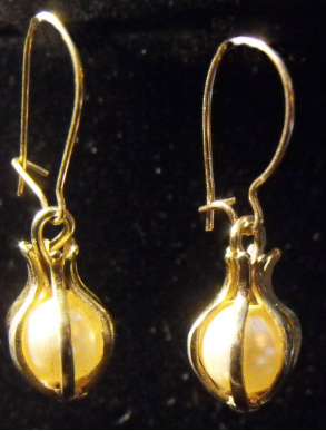 Caged Pearl Dangles