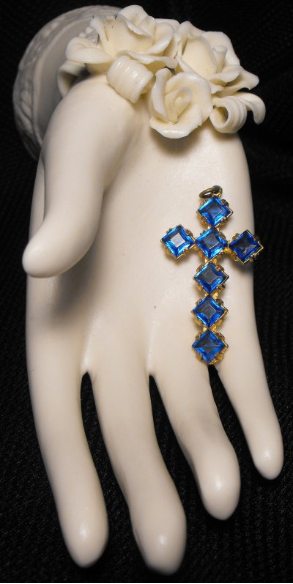 Blue Rhinestone Cross