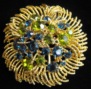 Lisner Brooch in Blue and Green