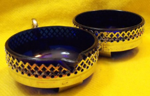 Blue Glass Cream & Sugar Set